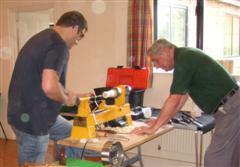 Paul Hunt needed a little help to keep the lathe in one place