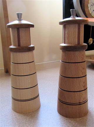 Lighthouse styled salt and pepper mills by Fred Taylor