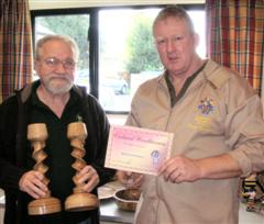 The Highly commended Bob Mann received his certificate from Tony Handford