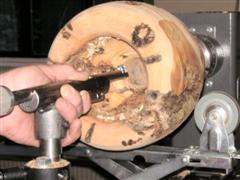 The hollowing tool in use