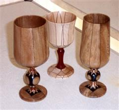 Three wine goblets by Frank Hayward