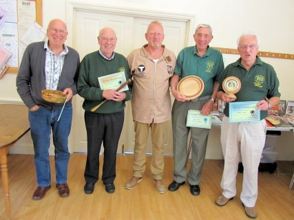 Tony Handford with the winners of the July certificates