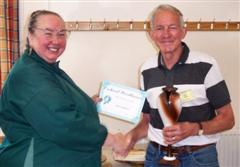 The monthly Highly commended David Ward received his certificate from Jennie Starbuck