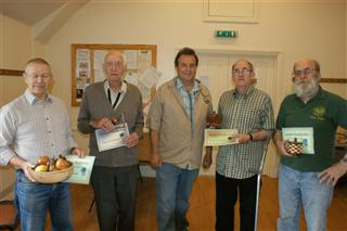David Reed Bernard Slingsby Len Laker and Fred Taylor receive certificates from Gary Rance