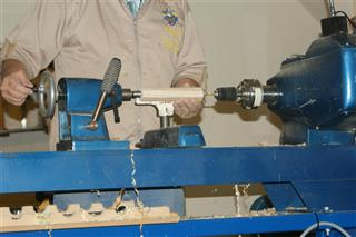 Drilling a blank for a tool handle