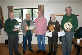 Dennis Keeling presents the March 2012 certificates to Pat Hughes Howard Overton John Brocklehurst and Bert Lanham