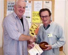 The monthly winner Geoff Hunt received his certificate from Chris Eagles