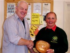 The monthly Highly commended Howard Overton received his certificate from Chris Eagles