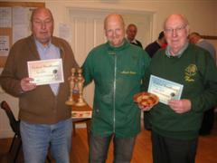 Peter Blake and Pat Hughes receive Turning of the month and Highly commended certificates respectively from Mark Baker