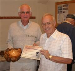 The monthly winner Brian Cumberland received his certificate from Tom Pockley