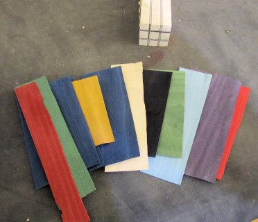 A sample of the coloured veneers that Carlyn uses